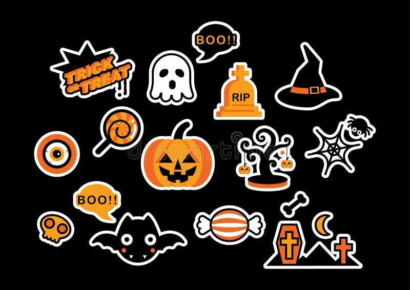 Комплект милого вектора элементов дизайна значка логотипа хеллоуина бесплатная иллюстрация