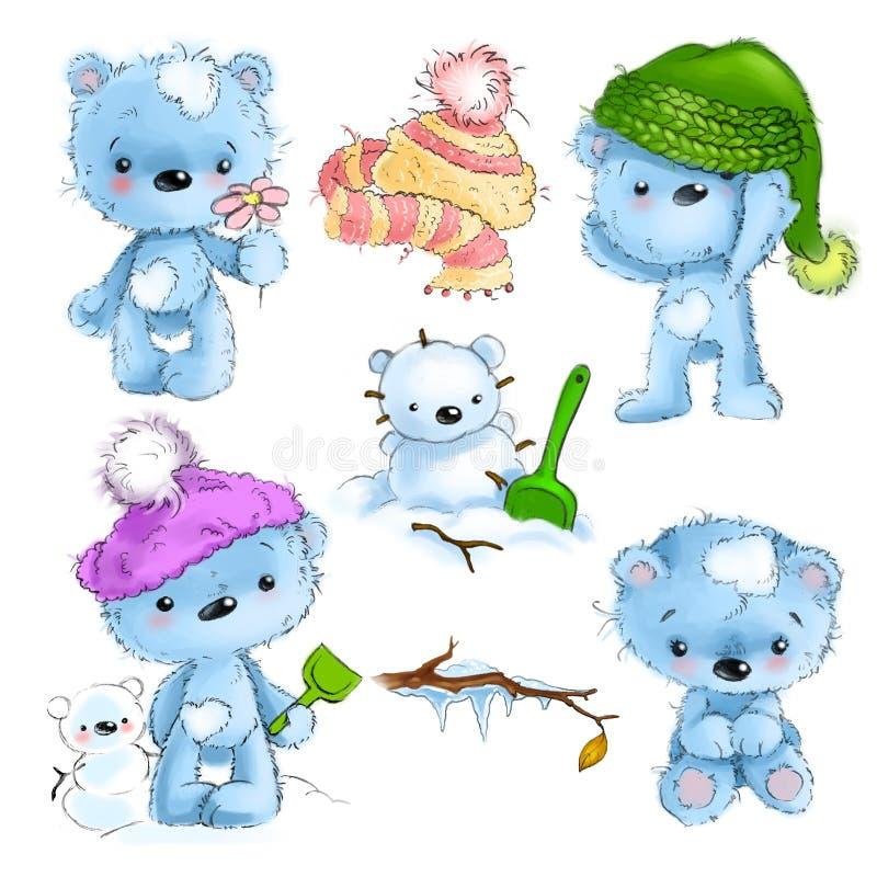 Комплект милого положения характера плюшевого медвежонка, усаживания, играя, иллюстрации шаржа изолированной на белой предпосылке иллюстрация штока