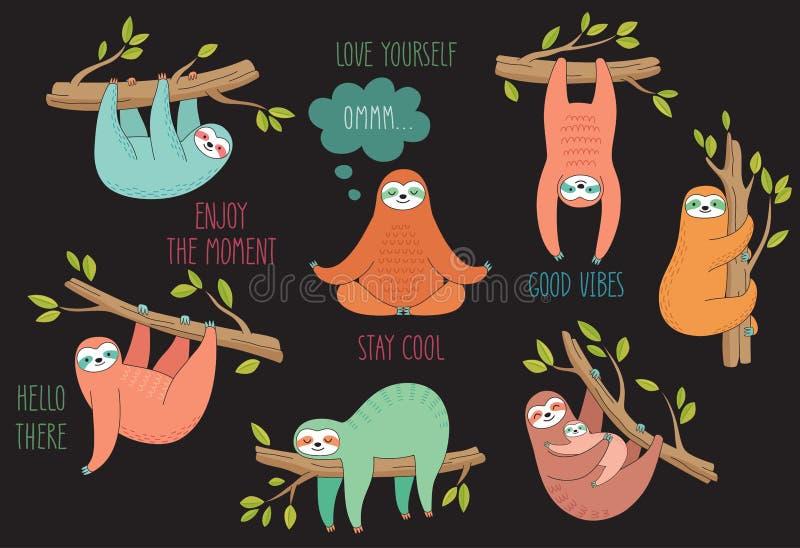 Комплект милой леней нарисованных рукой вися на дереве Ленивые животные характеры Собрание животного джунглей иллюстрация штока