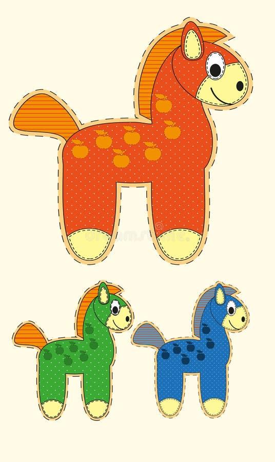Комплект милой лошади шаржа в плоском дизайне для поздравительной открытки, приглашения и логотипа с текстурой ткани иллюстрация вектора