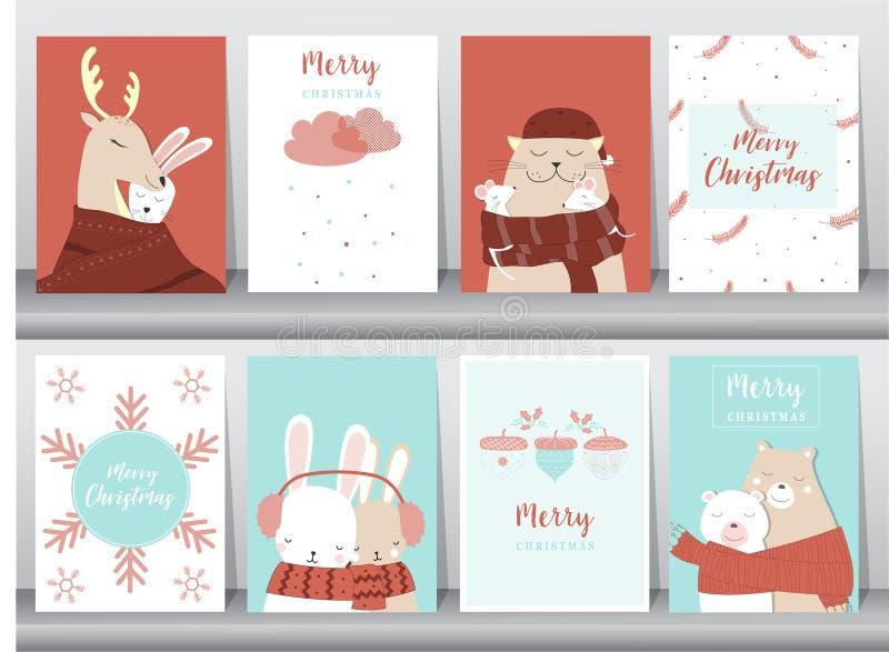 Комплект милой с Рождеством Христовым предпосылки с милым животным и рождественской елкой, симпатичной предпосылкой с символами п иллюстрация штока