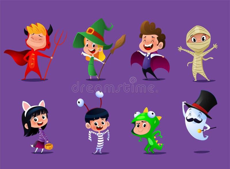 Комплект милых детей шаржа иллюстрация штока
