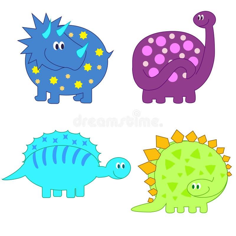 комплект милых динозавров смешной иллюстрация вектора