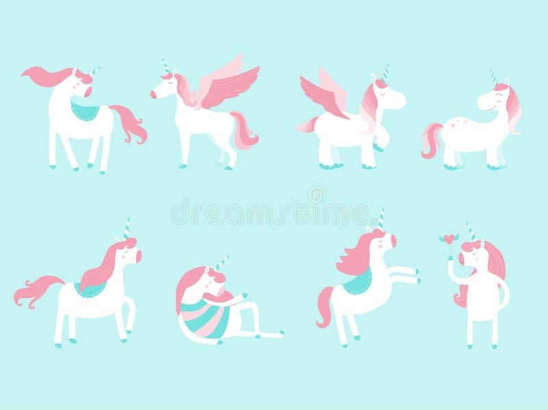 Комплект милых единорогов и элементов для вашего дизайна, сказки, значков, животного, лошади, иллюстраций вектора бесплатная иллюстрация