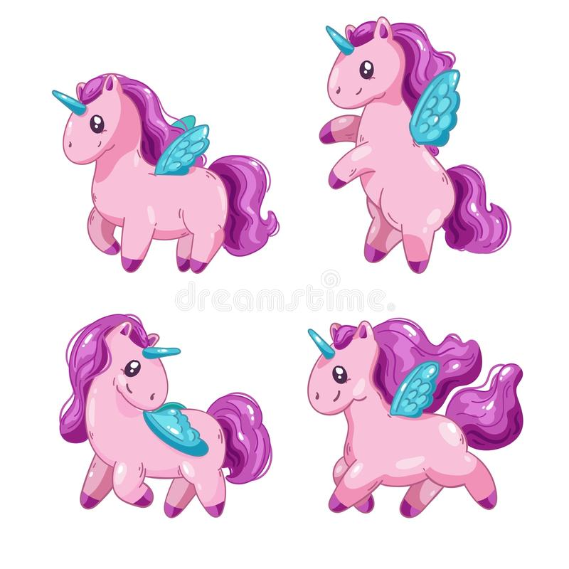 Комплект милых единорогов шаржа, horsees фантазии маленьких красивых для игрового дизайна иллюстрация вектора