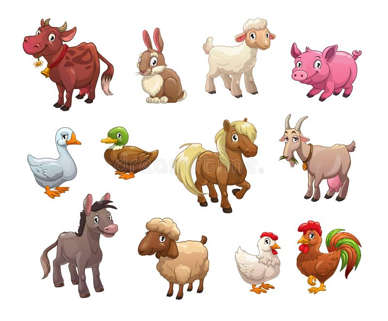 Комплект милых животноводческих ферм шаржа иллюстрация штока