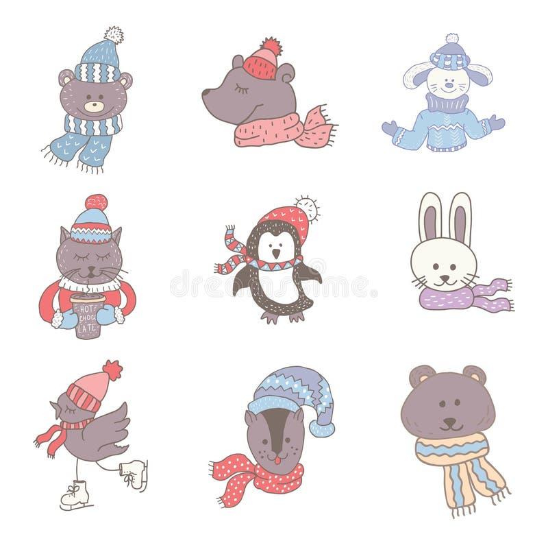 Комплект милых животных в зиме Искусство питомника Минималистский скандинавский стиль бесплатная иллюстрация
