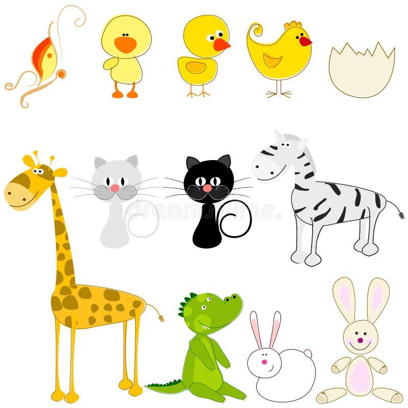 Комплект милых и смешных животных иллюстрация вектора