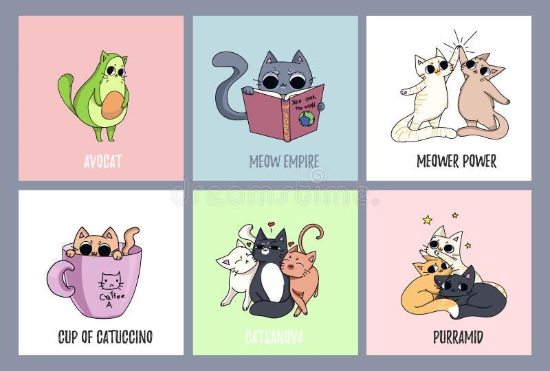 Комплект милых карточек котов Кот авокадоа, кофе-кот Кот читая b иллюстрация штока