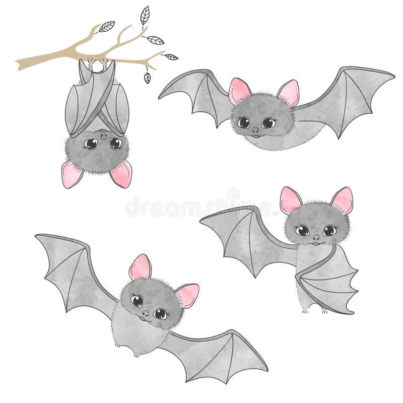 Комплект милых летучих мышей, летание, смертная казнь через повешение на дереве иллюстрация штока