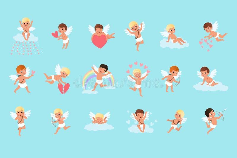 Комплект милых мальчиков купидона в различных действиях Летать, сидящ на облаках, распространяя влюбленность Мифические лучники А иллюстрация вектора