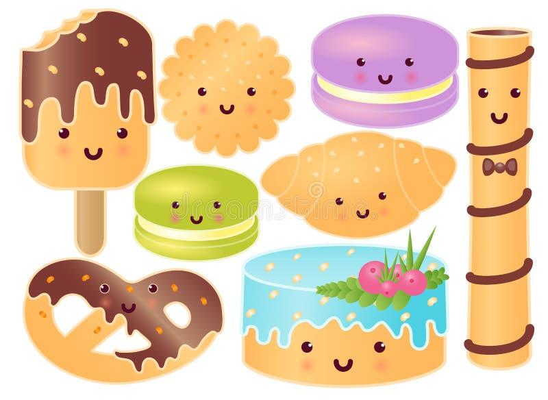 Комплект милых помадок Круассан, крендель, пирожное, мороженое, Macaroons, сладостный стейк, печенье иллюстрация вектора