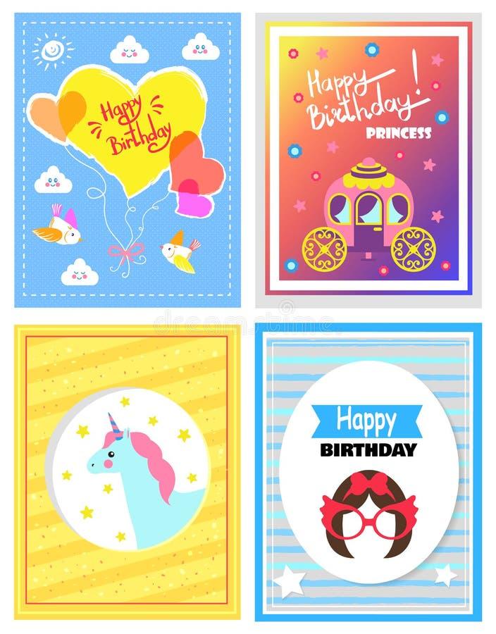 Комплект милых праздничных карточек, с днем рождения принцесса иллюстрация вектора