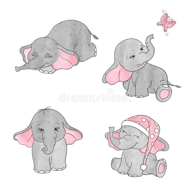 Комплект милых слонов младенца шаржа акварели бесплатная иллюстрация