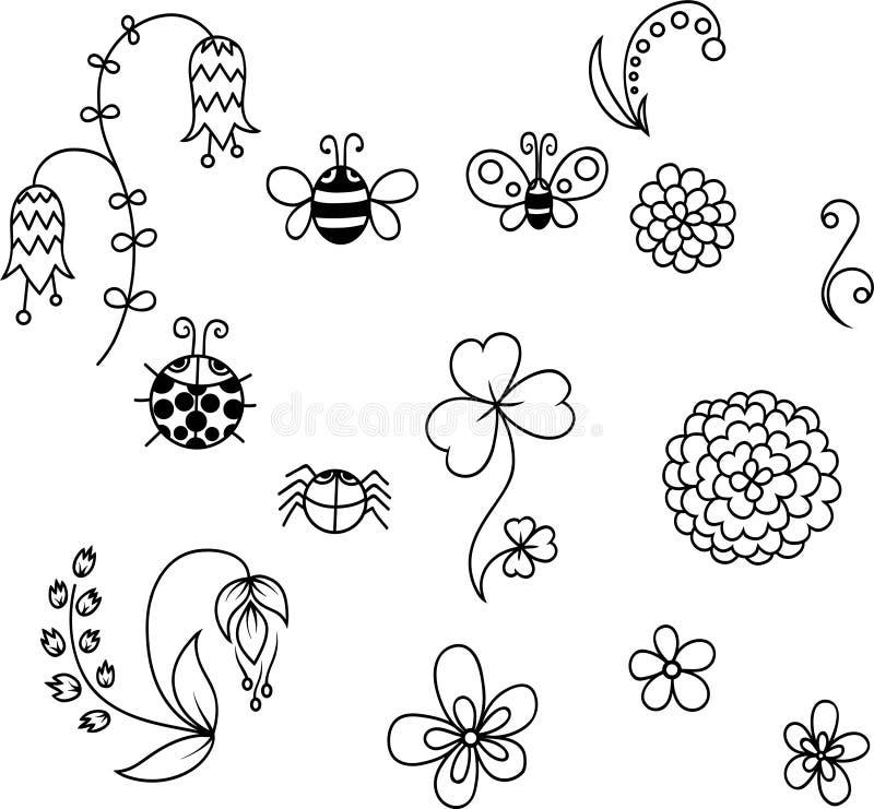 Комплект милых цветков и насекомых иллюстрация штока