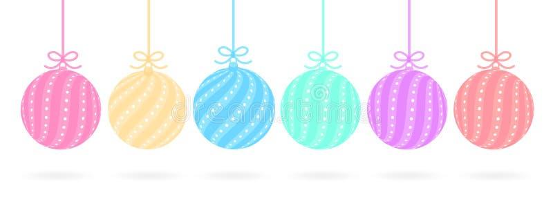 Комплект милых шариков в пастельных цветах красных, желтый, розовый, голубой, зеленый, фиолетовый иллюстрация штока