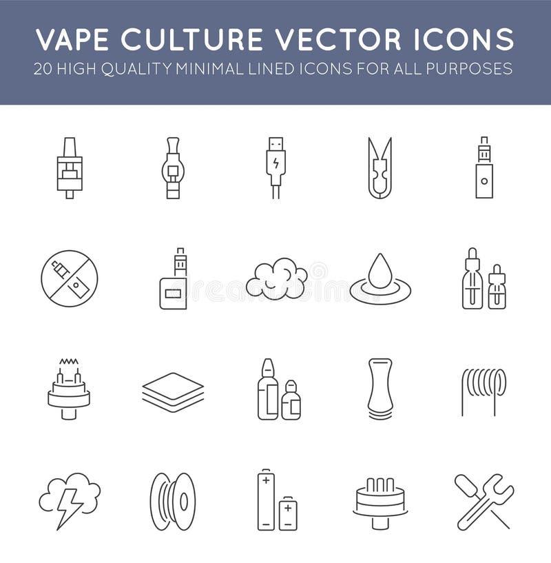 Комплект минимальной линии значков вектора культуры Vape Vaping Совершенный пиксел Тонкий ход 48x48 иллюстрация вектора