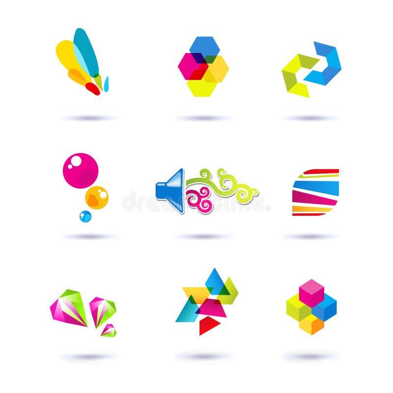 Комплект минимальных геометрических multicolor символов и форм Ультрамодные значки и логотипы Дело подписывает символы, ярлыки, з иллюстрация штока