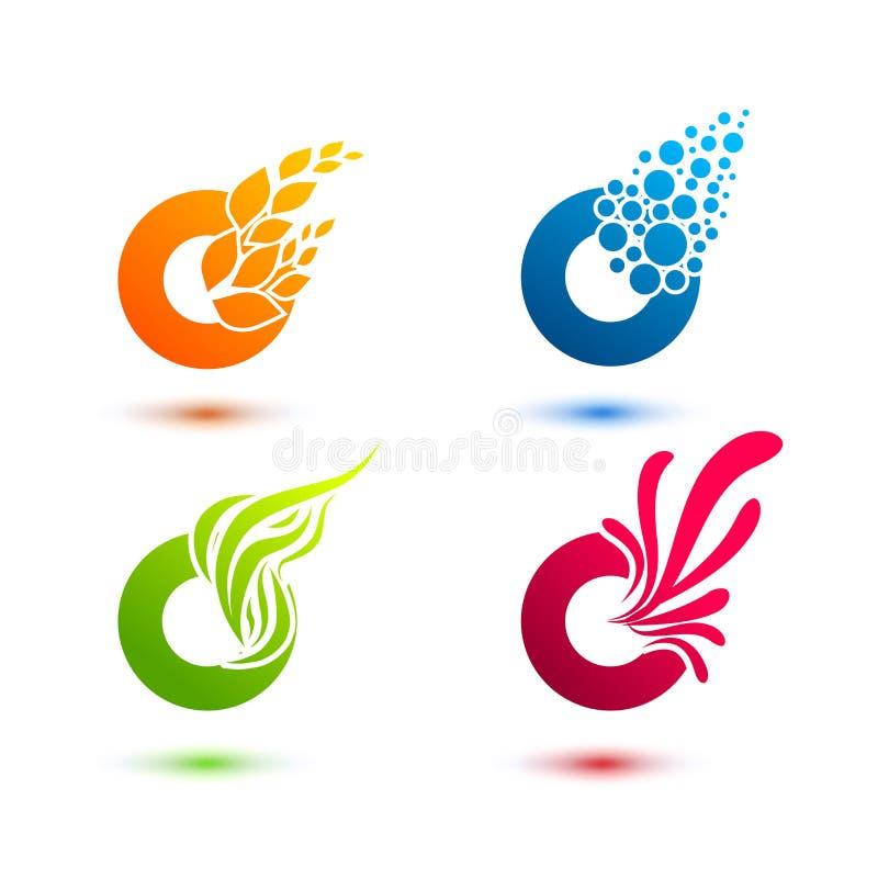 Комплект минимальных геометрических multicolor форм элементов Ультрамодные значки и логотипы Дело подписывает символы, солнце, во бесплатная иллюстрация