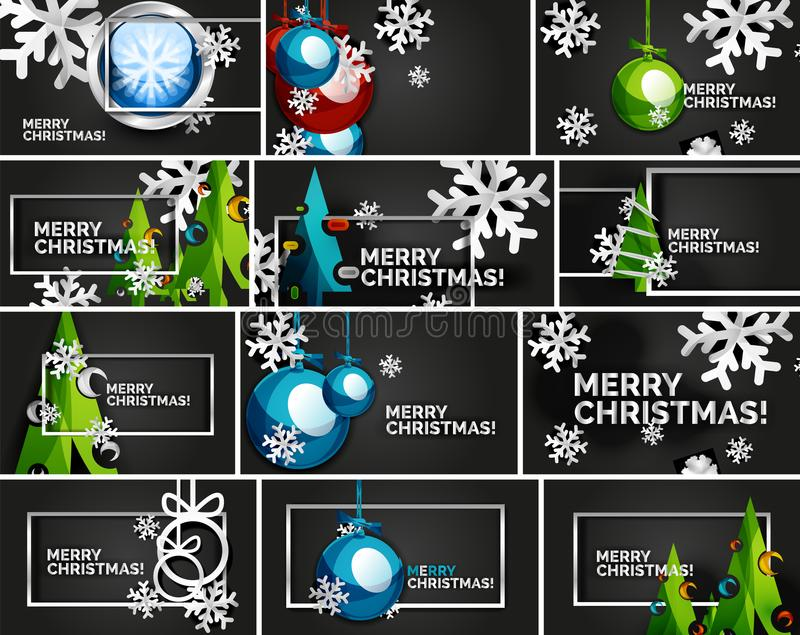Комплект минимальных шаблонов дизайна рождества, геометрическая абстрактная рождественская елка, снег, шарики игрушки рождества иллюстрация штока
