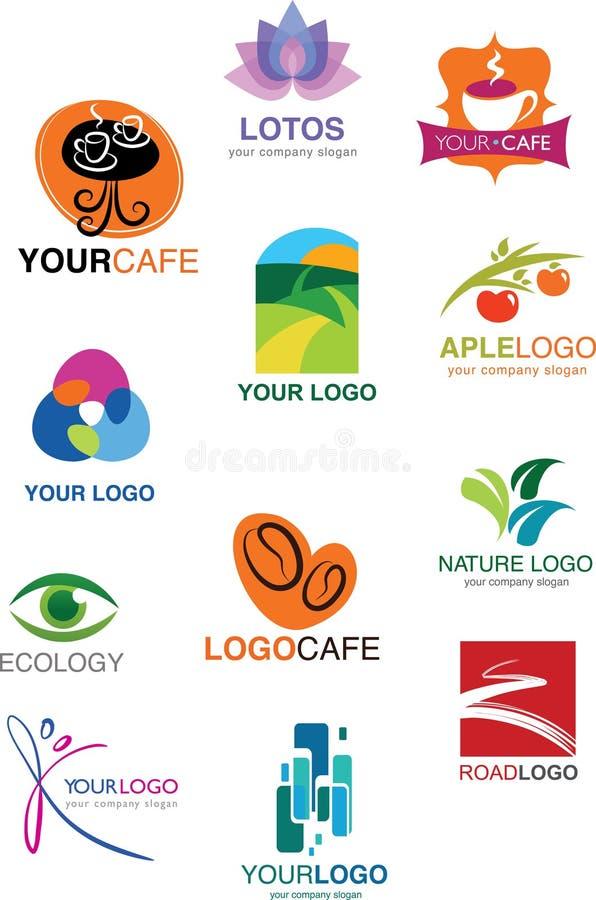 Комплект много различных логосов и символов иллюстрация вектора