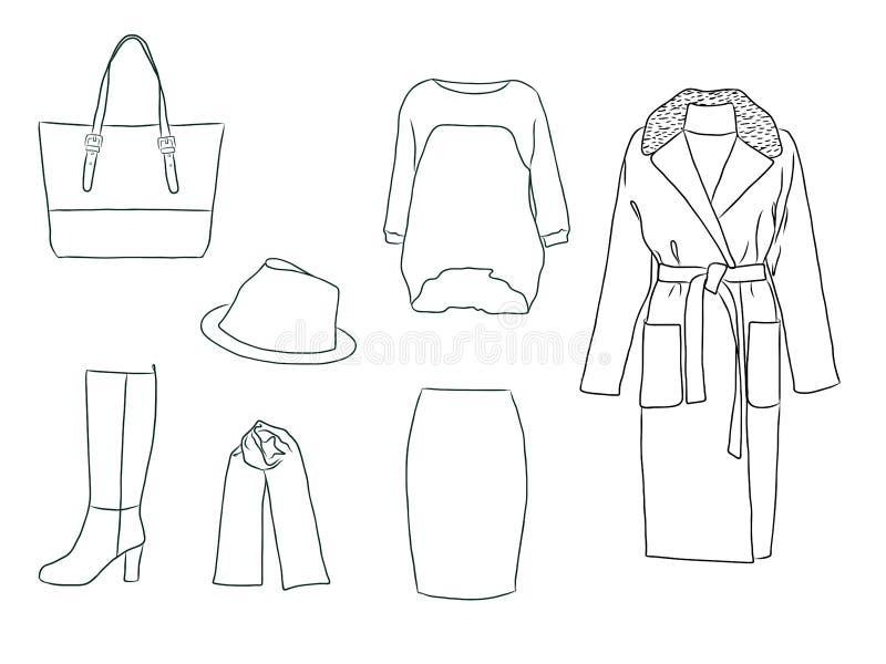 Комплект моды вектора стильный осени ` s женщины, весны или одежд и аксессуаров зимы Вскользь обмундирование силуэта с шлямбуром, иллюстрация штока