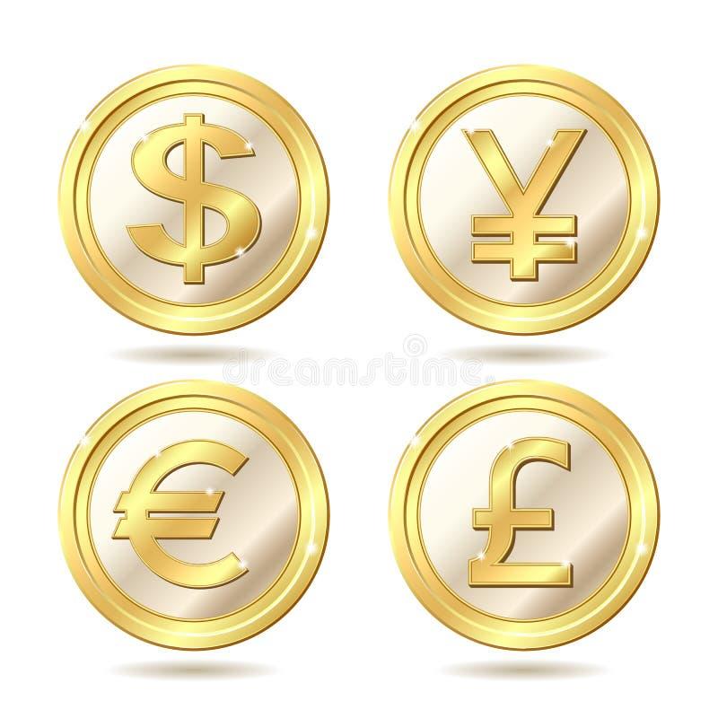 комплект монетки золотистый иллюстрация вектора