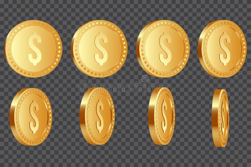 Комплект монеток доллара 3d иллюстрация штока