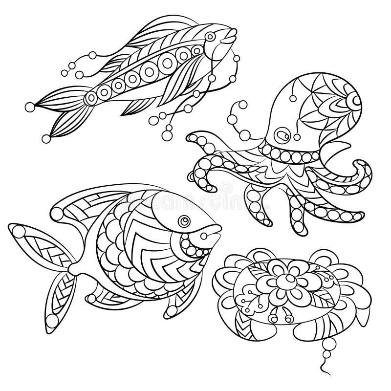 Комплект морских животных в иллюстрации векторной графики в красить p иллюстрация штока