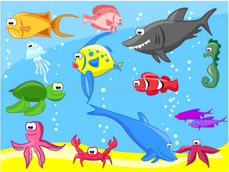 комплект морского пехотинца рыб иллюстрация вектора