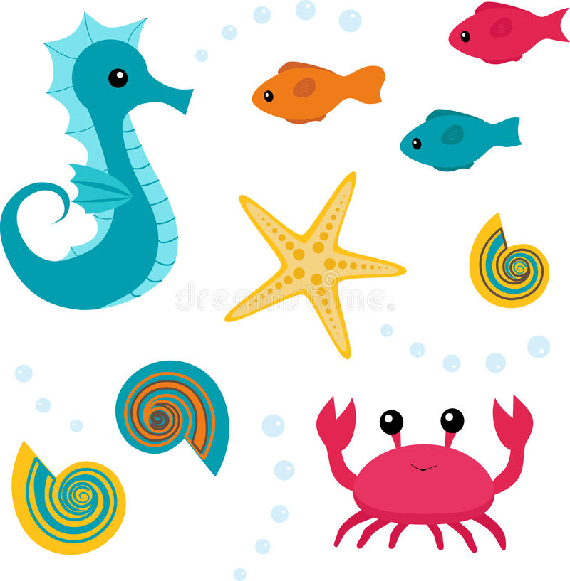комплект моря жизни 3 шаржей иллюстрация вектора