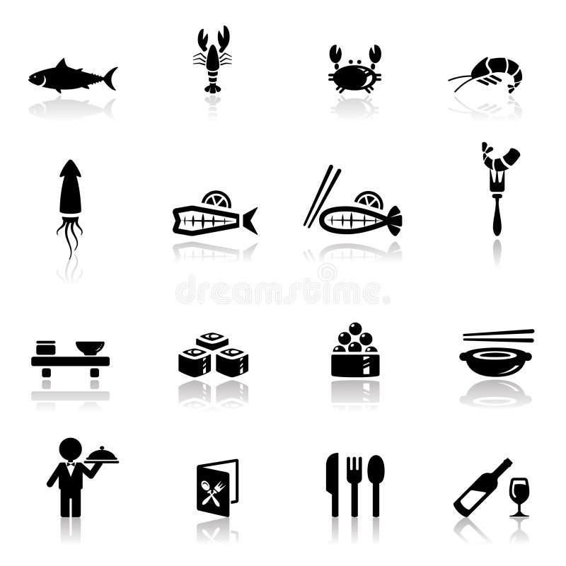 комплект моря икон еды иллюстрация вектора