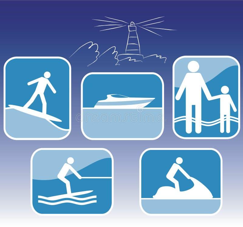 комплект моря курорта иконы иллюстрация вектора