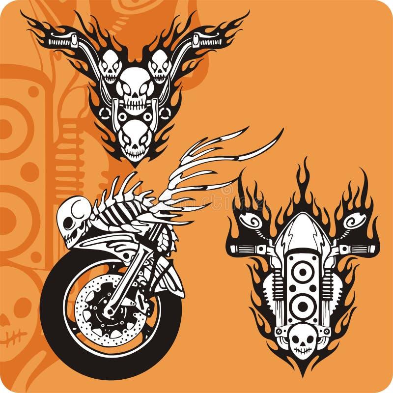 комплект мотоцикла 5 составов бесплатная иллюстрация