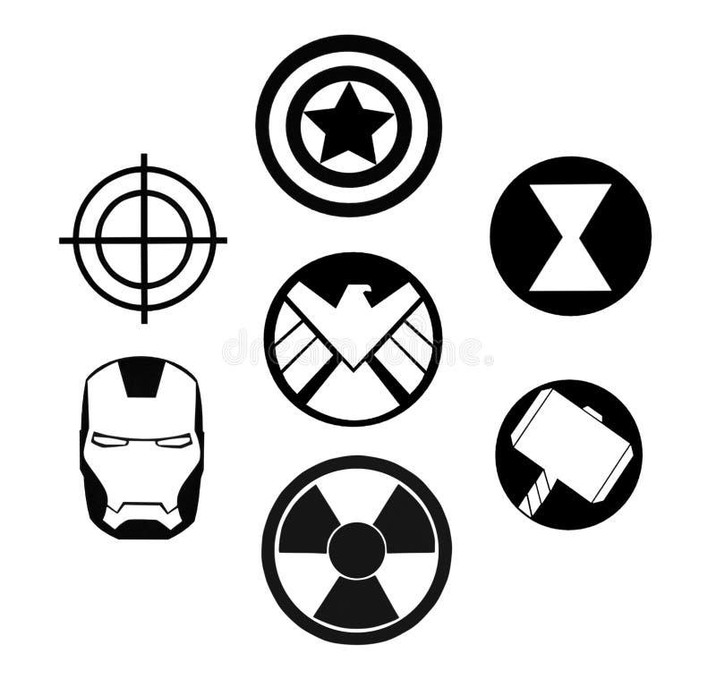 Комплект мстителей восхищает черным логотипам иллюстрация вектора