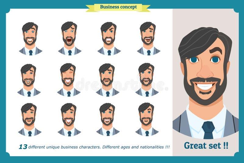 Комплект мужских лицевых эмоций плоский персонаж из мультфильма Бизнесмен в костюме и связи Бизнесмены в круглых значках Изолиров иллюстрация штока