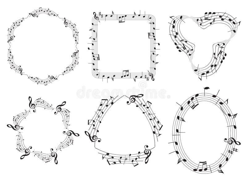 Комплект музыкальных рамок вектора с примечаниями музыки иллюстрация вектора