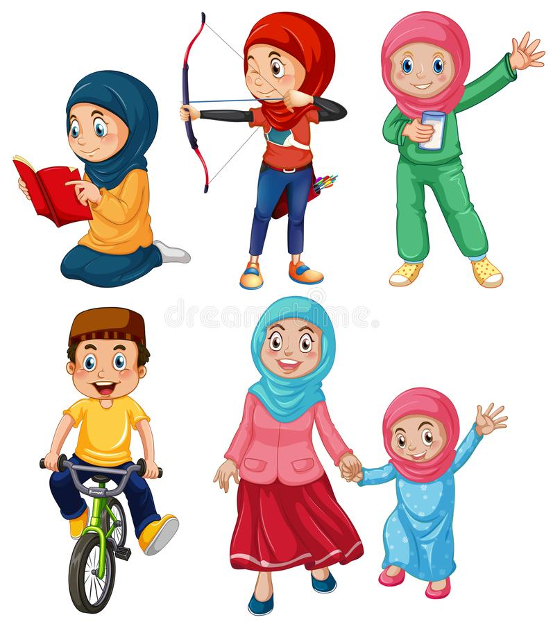 Комплект мусульманских людей иллюстрация вектора