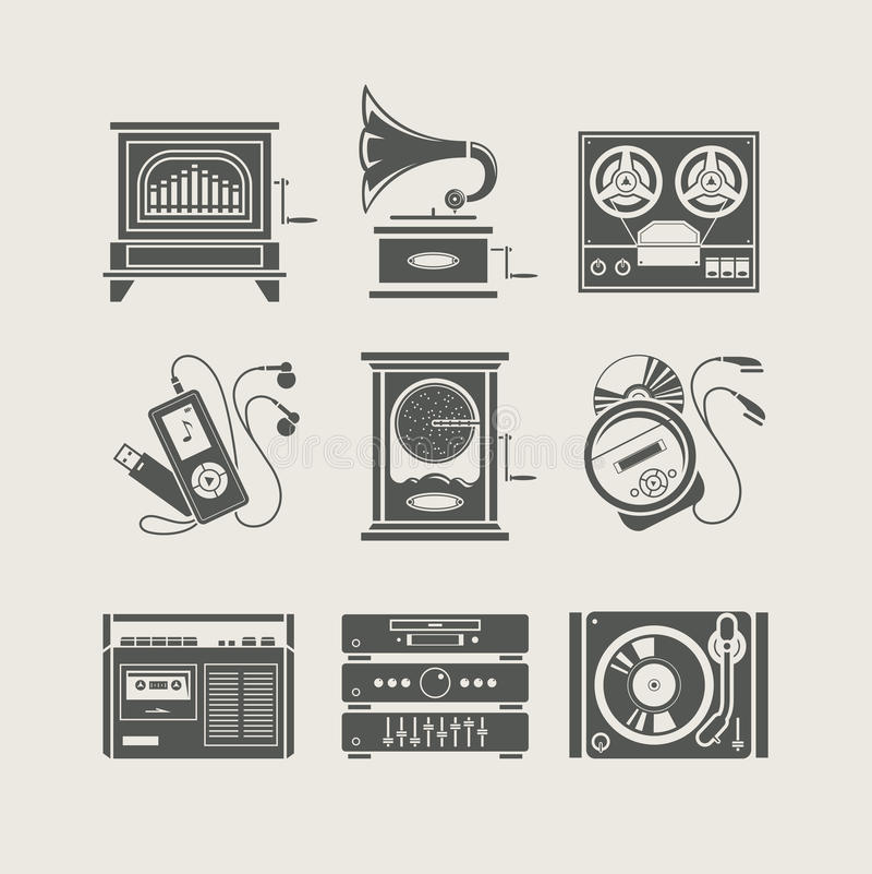 комплект мюзикл иконы прибора иллюстрация штока