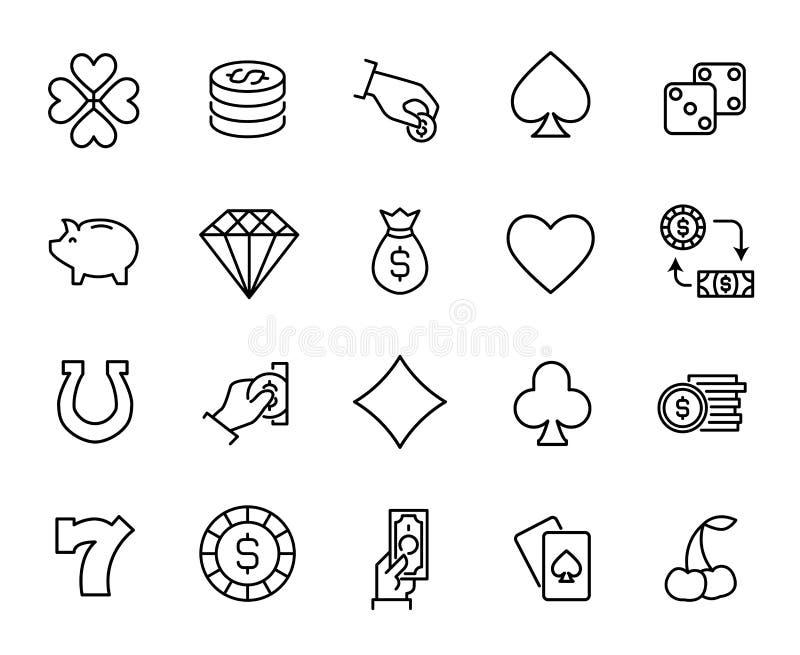 Комплект награды играя в азартные игры линии значков бесплатная иллюстрация