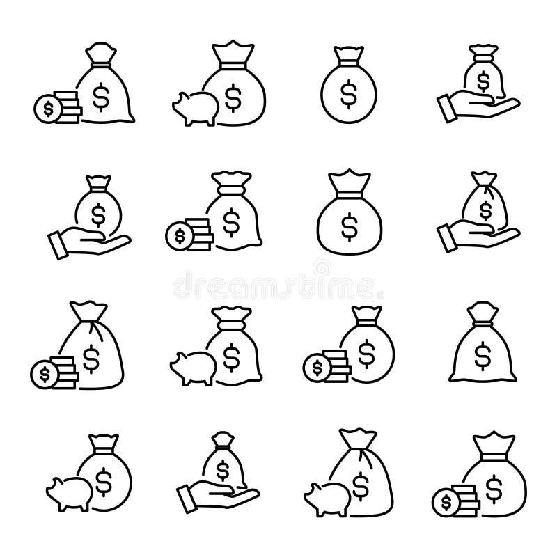 Комплект награды линии значков moneybag иллюстрация вектора
