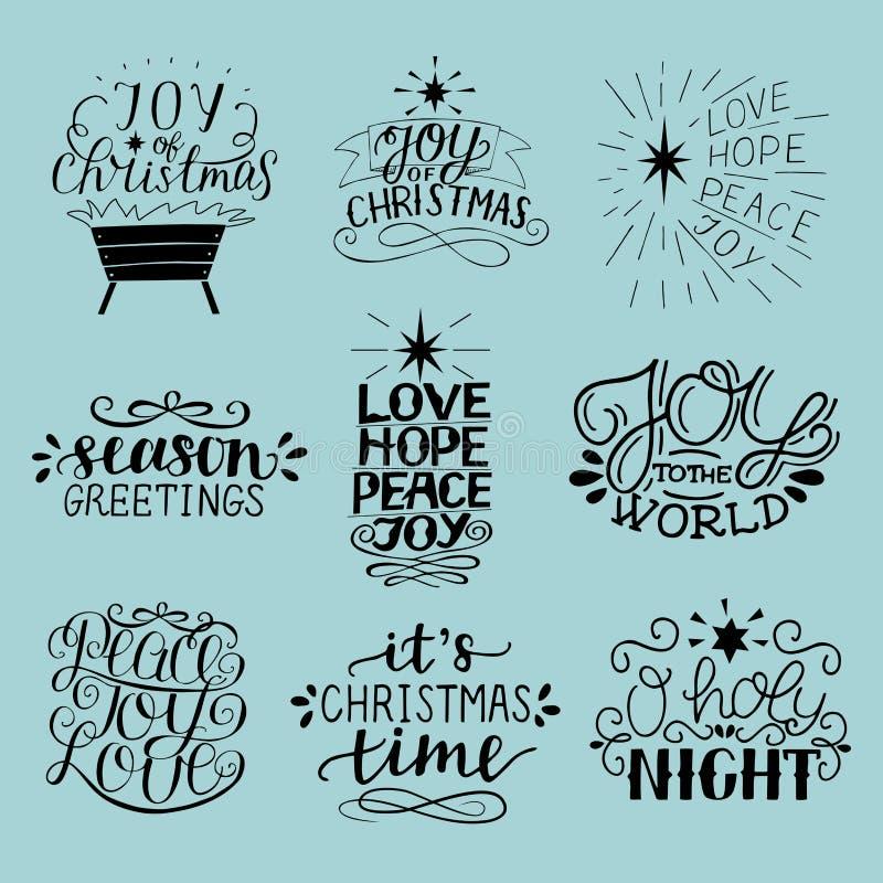 Комплект 9 надписей рождества с помечать буквами ночу o святую Утеха, надежда, влюбленность, мир Приветствия сезона иллюстрация штока