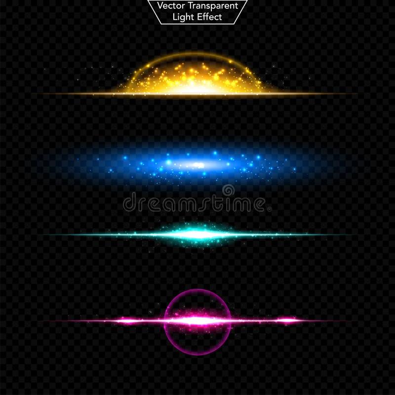 Комплект накаляя светового эффекта Реалистические объектив и свет sparkles Изолированный на черной прозрачной предпосылке Взрыв з бесплатная иллюстрация