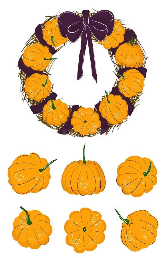 Комплект нарисованных вручную тыкв в различных положениях: сторона, верхняя часть, прямо Круглые wearths с тыквами, сухой ветвью  бесплатная иллюстрация