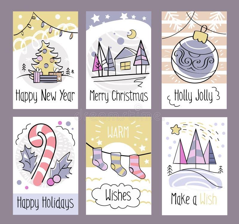 Комплект нарисованных рукой поздравительных открыток рождества счастливое Новый Год Merr иллюстрация штока