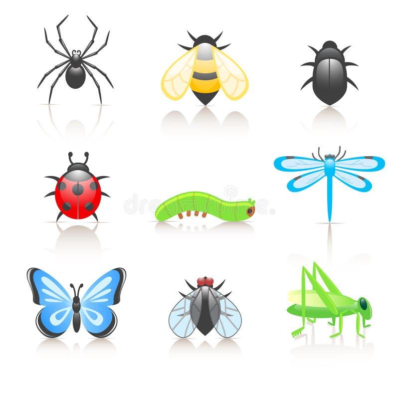 комплект насекомого иконы шаржа иллюстрация вектора