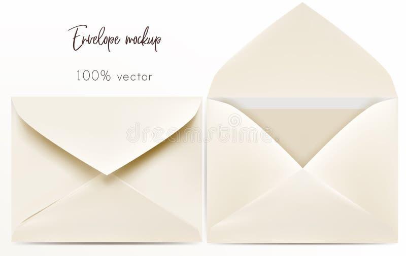 Комплект насмешки конверта вектора вверх иллюстрация штока