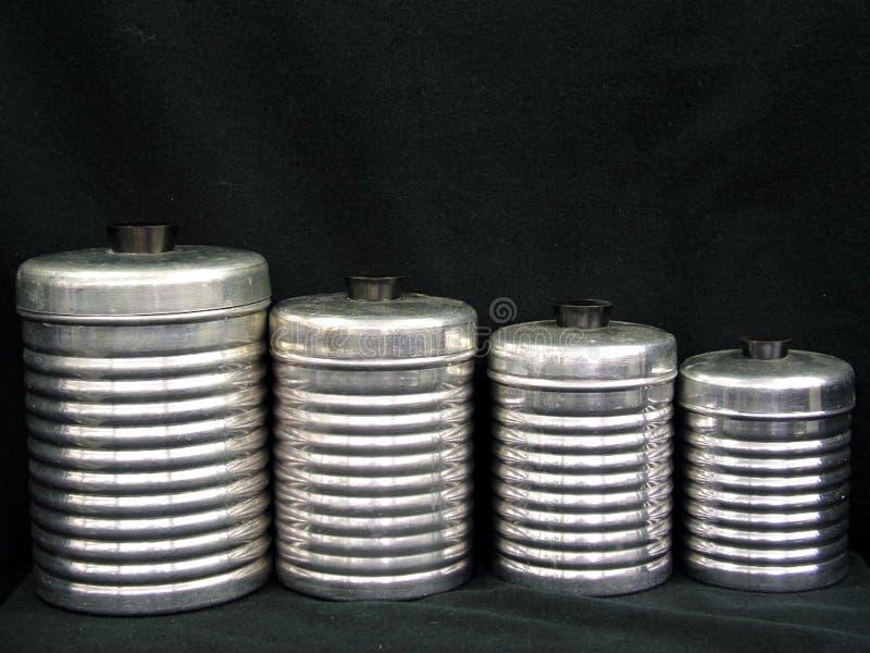Комплект натюрморта ретро банок кухни стоковое изображение