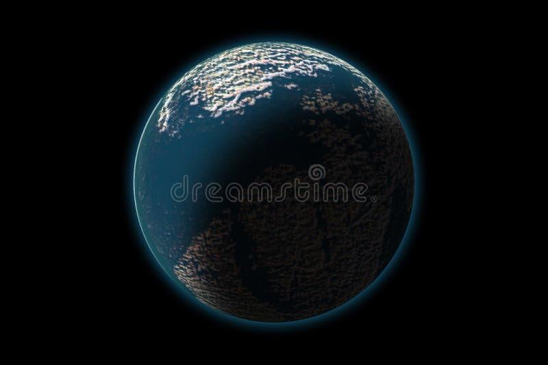 Комплект неизвестной планеты на текстуре фото, изолированный на черноте иллюстрация штока