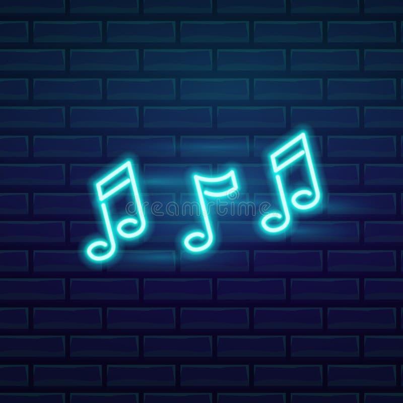 Комплект неоновой вывески моды Музыка шильдика ночи яркая, накаляя светлое знамя Логотип лета, эмблема Клуб или бар на темноте иллюстрация штока